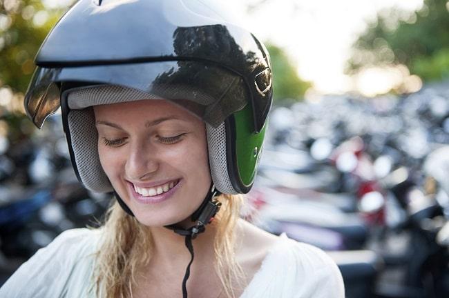 Young woman wear helmet