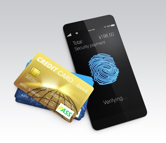 Credit card and smartphone with fingerprint scan app